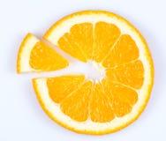 Slice of orange. fruit pie chart. Slice of orange on white background. fruit pie chart stock image