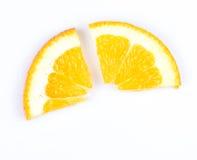 Slice of orange. fruit pie chart. Slice of orange on white background. fruit pie chart royalty free stock image