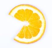 Slice of orange. fruit pie chart. Slice of orange on white background. fruit pie chart stock photo
