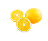 Slice of orange isolate on white with work path Royalty Free Stock Photos