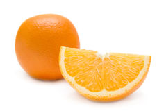 Slice of orange. isolated on white. Royalty Free Stock Photo