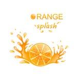 Slice of Orange with Splashing Royalty Free Stock Photos