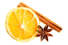 Slice of orange, star anise and cinnamon. Royalty Free Stock Photos
