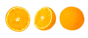 Slice of  orange three side, behind,lateral,top on white background Royalty Free Stock Photos