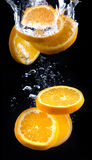 Slice of orange in the water with bubbles Stock Images