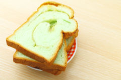 Slice of pandan bread Royalty Free Stock Images