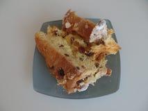 Slice of panettone Christmas cake stock image