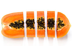 Slice papaya fruit Stock Images