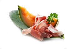 Slice parma ham and melon Stock Images