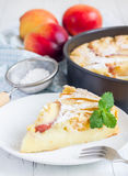 Slice of peach clafoutis Royalty Free Stock Photos