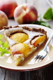 Slice of peach tart Stock Image