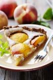 Slice of peach tart Stock Image