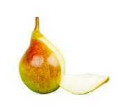 Slice pears next to a pear Stock Photography