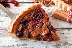 Slice of pecan cranberry pie on pie server Stock Images