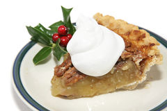 Slice of Pecan Pie for Christmas royalty free stock image
