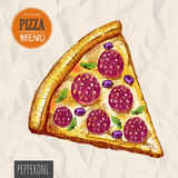 A slice of pepperoni pizza Royalty Free Stock Photos