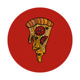 Slice of pepperoni pizza. Hand drawn vector illustration Royalty Free Stock Image