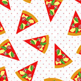 Slice of Pepperoni Pizza seamless pattern on polka dots background. Stock Images