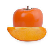 Slice of persimmon on white background Royalty Free Stock Photos
