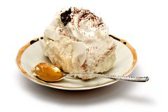 Slice of a pie on plate with the spoon Royalty Free Stock Photo