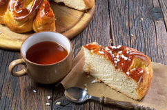 Slice pie and tea Royalty Free Stock Photo