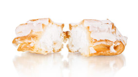 Slice piece of vanilla cake topping with white chocolate chips f Stock Images