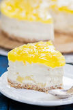 Slice of pineapple cheesecake Royalty Free Stock Photography