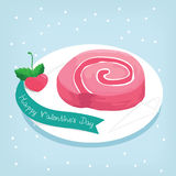 Slice pink roll cake with strawberry love in valentine Royalty Free Stock Image