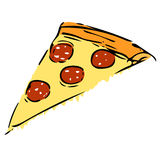 Slice of pizza. Elementary vector drawing of pizza's slice with salami royalty free illustration