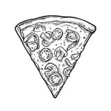 Slice pizza mexican. Vintage  engraving illustration for poster, menu, box. Royalty Free Stock Images