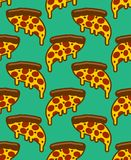 Slice of pizza pattern seamless. flowing cheese ornament. Cartoon fast food vector background.  stock illustration