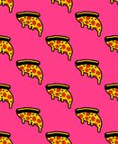 Slice of pizza pattern seamless. flowing cheese ornament. Cartoon fast food vector background stock images