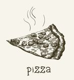 Slice of pizza. A piece of fragrant freshly prepared pizza vector sketch on gray background Stock Photo