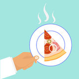 A slice of pizza on a plate stock illustration