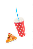 Slice of pizza and soda drink royalty free stock photos