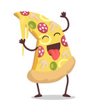 Slice of Pizza Vector Illustration in Flat Design. Smiling and dancing slice of pizza vector. Flat design. Funny cartoon of fast food dish. For restaurant menu stock illustration