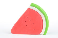 Slice of plasticine watermelon Royalty Free Stock Photos