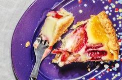 Slice of plum cake on purple plate Stock Photography