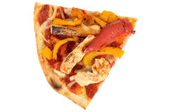 Slice of Pollo Piccante Italian Style Fast Food Pizza Royalty Free Stock Photography