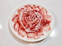 Slice pork rose. Food cuisine shabu Stock Photography