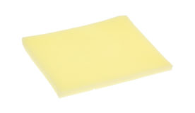 Slice of provolone cheese on white background Royalty Free Stock Images