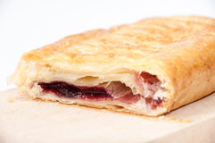 Slice of puff pastry with cherries Royalty Free Stock Photo