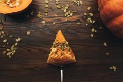 Slice of pumkin pie Royalty Free Stock Images