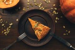Slice of pumkin pie Royalty Free Stock Photography
