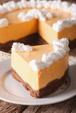 Slice of pumpkin cheesecake close-up on a plate. vertical Royalty Free Stock Photos