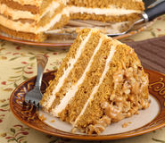 Slice of Pumpkin Layer Cake Stock Photo