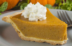 Slice of pumpkin pie on a plate with whipped cream Royalty Free Stock Images