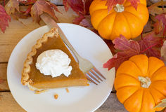 Slice of Pumpkin Pie Stock Photos