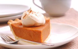Slice of pumpkin pie with whipped cream Stock Image