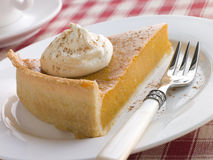 Slice Of Pumpkin Pie With Whipped Cream Stock Photography
